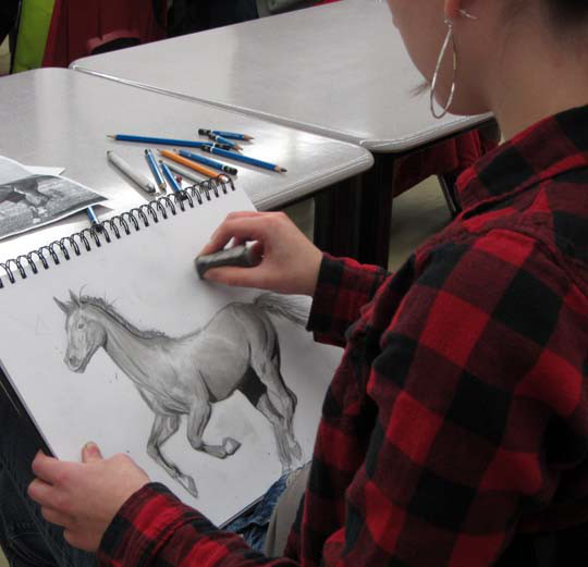 Student Drawing a Horse