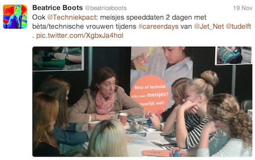 @beatriceboots: Ook @Techniekpact: meisjes speeddaten 2 dagen met bèta/technische vrouwen tijdens #careerdays van @Jet_Net @tudelft . pic.twitter.com/XgbxJa4hol