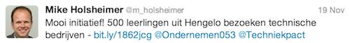 @m_holsheimer: Mooi initiatief! 500 leerlingen uit Hengelo bezoeken technische bedrijven - http://bit.ly/1862jcg  @Ondernemen053 @Techniekpact