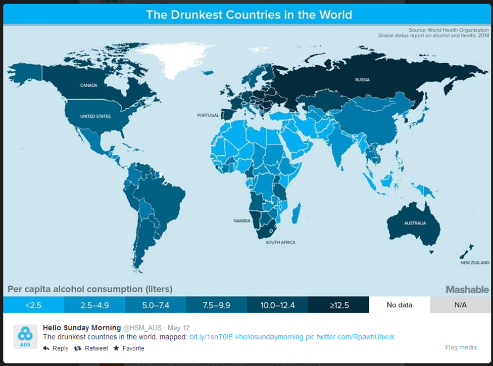 drunkest countries in the world mapped - HSM twitter