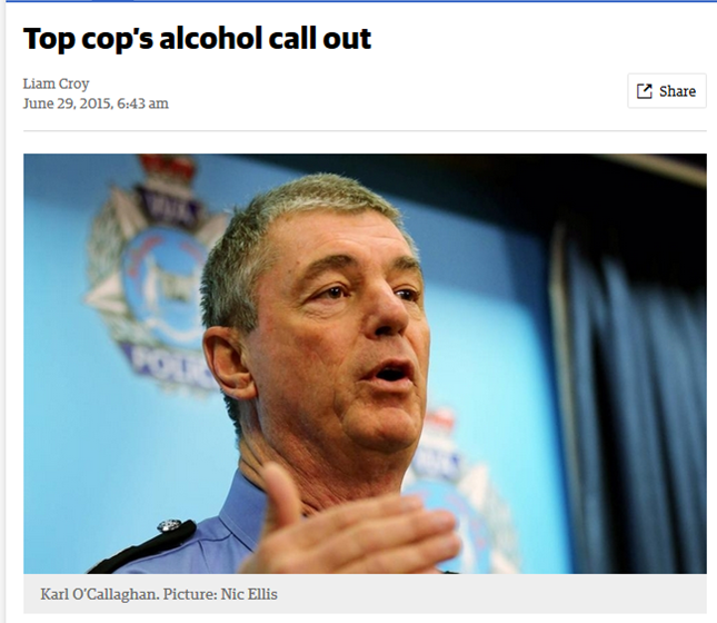 Top cop's alcohol call out - The West Australian