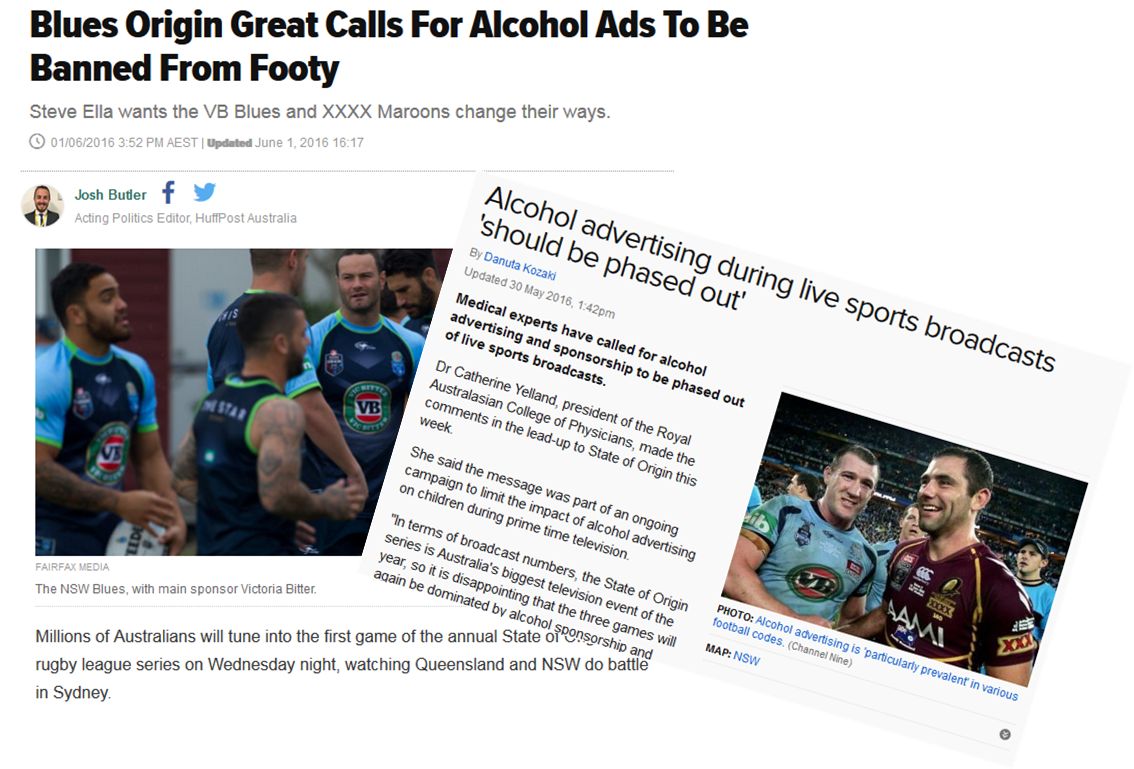 Images of calls for curbs on alcohol advertising media headlines