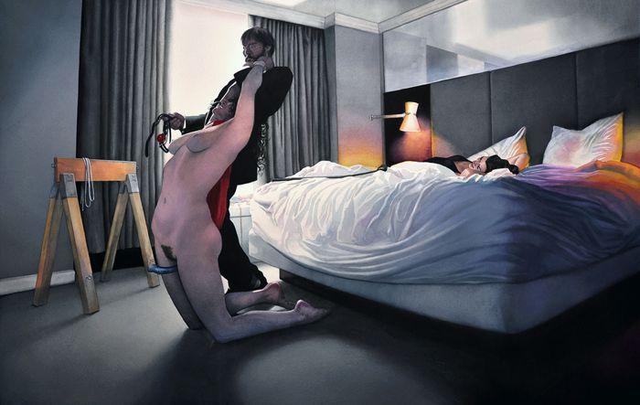 Reuben Negron usa de suas pinturas para explorar a intimidade do ato sexual