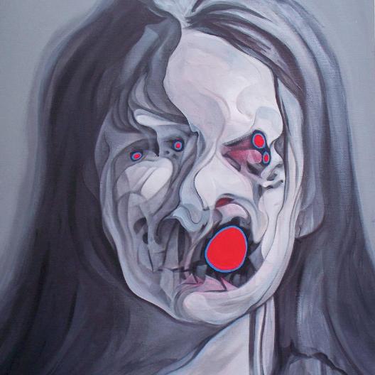 Buddy Nestor pinta retratos distorcidos que beiram o assustador.