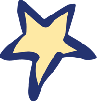 Drawn yellow star with blue border