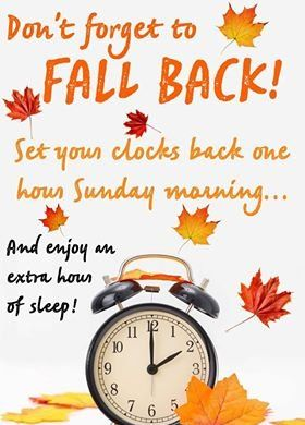 Set your clocks back