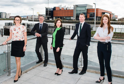 Rosanne Brennan, associate; Richard Gray, joint head of the corporate team; Neasa Quigley, joint head of the corporate team; Paul McGuickin, senior associate; and Helen Boyle, solicitor.