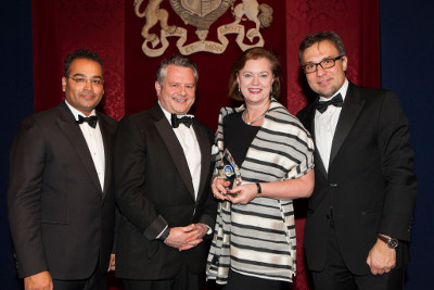 Krishnan Guru-Murthy with A&L Goodbody's Paul White and Eithne FitzGerald, and Giovanni Amodeo of Mergermarket