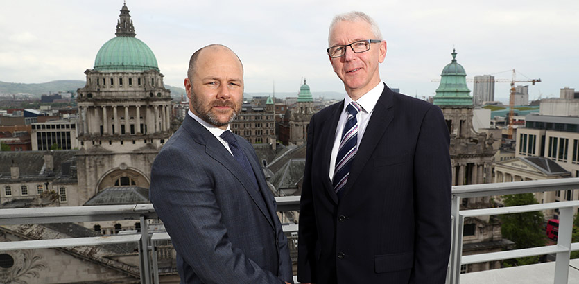 Pictured (l-r): Jason Byrne, head of Shoosmiths' Belfast office and Brian Dolaghan, Director of Technology & Services, Invest NI.