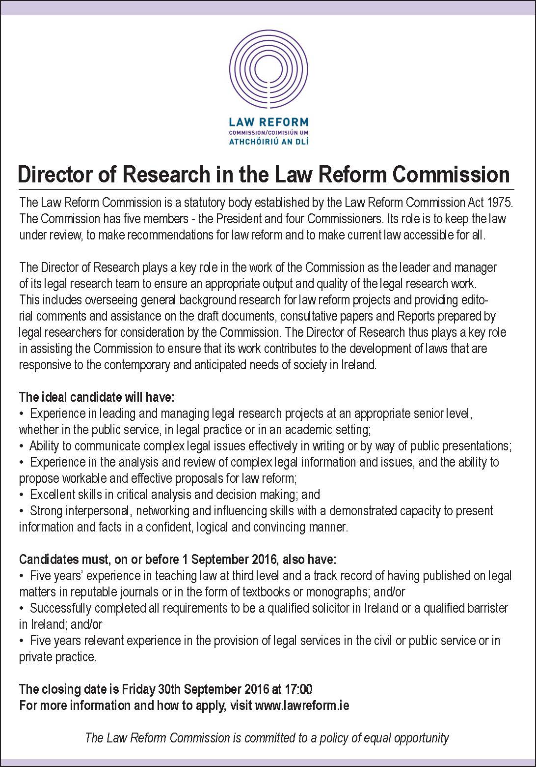 Director of Research in the Law Reform Commission