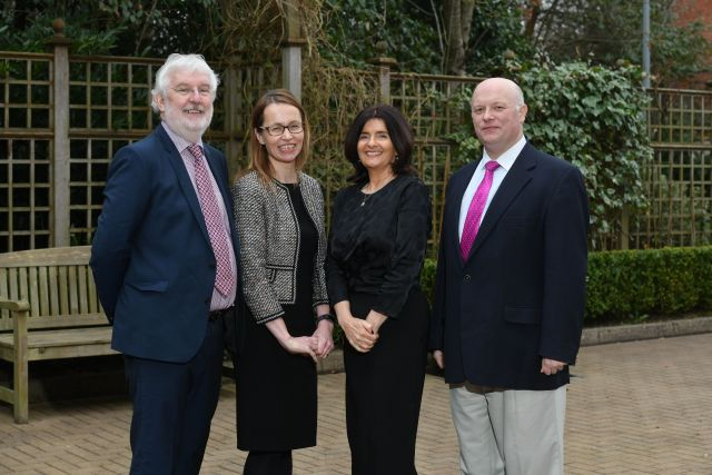 Peter O'Brien, deputy CEO of the Law Society; Clare Bates of Carson McDowell; Fiona Donnelly, EU project co-ordinator; and Eoin O'Dell, academic and lawyer