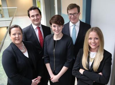 Pictured (l-r): Sinéad Lynch, John Dallas, Maria McElhinney, managing partner Julian Yarr, and Barbara Creed