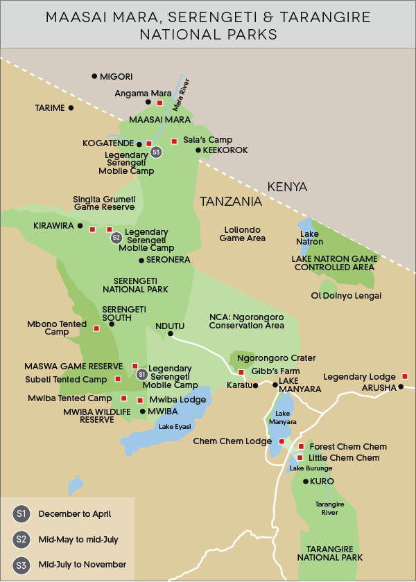 Maasai Mara, Serengeti & Tarangire National Parks map