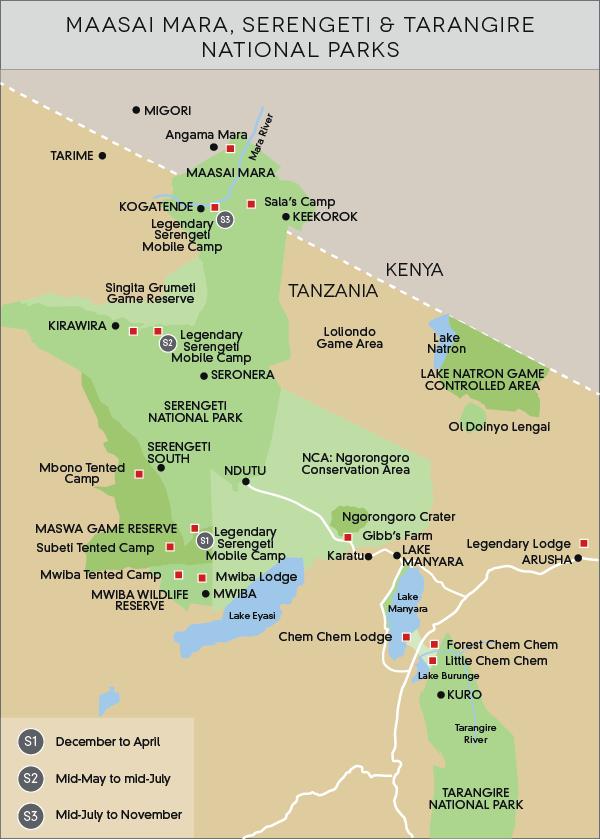 Maasai Mara, Serengeti & Tarangire National Parks map