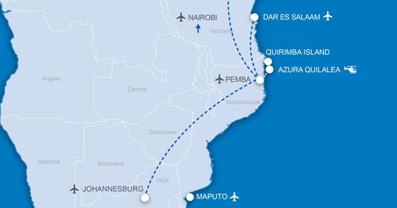 Azura Quilalea Flight Access Map