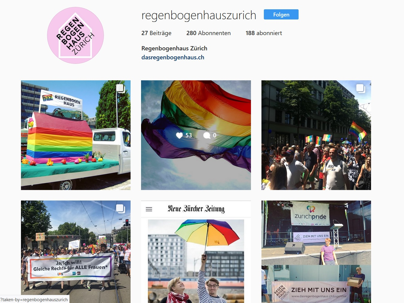 Screenshot Instagram-Account regenbogenhauszurich