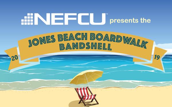 image of the Jones Beach Bandshell sponsored by NEFCU logo