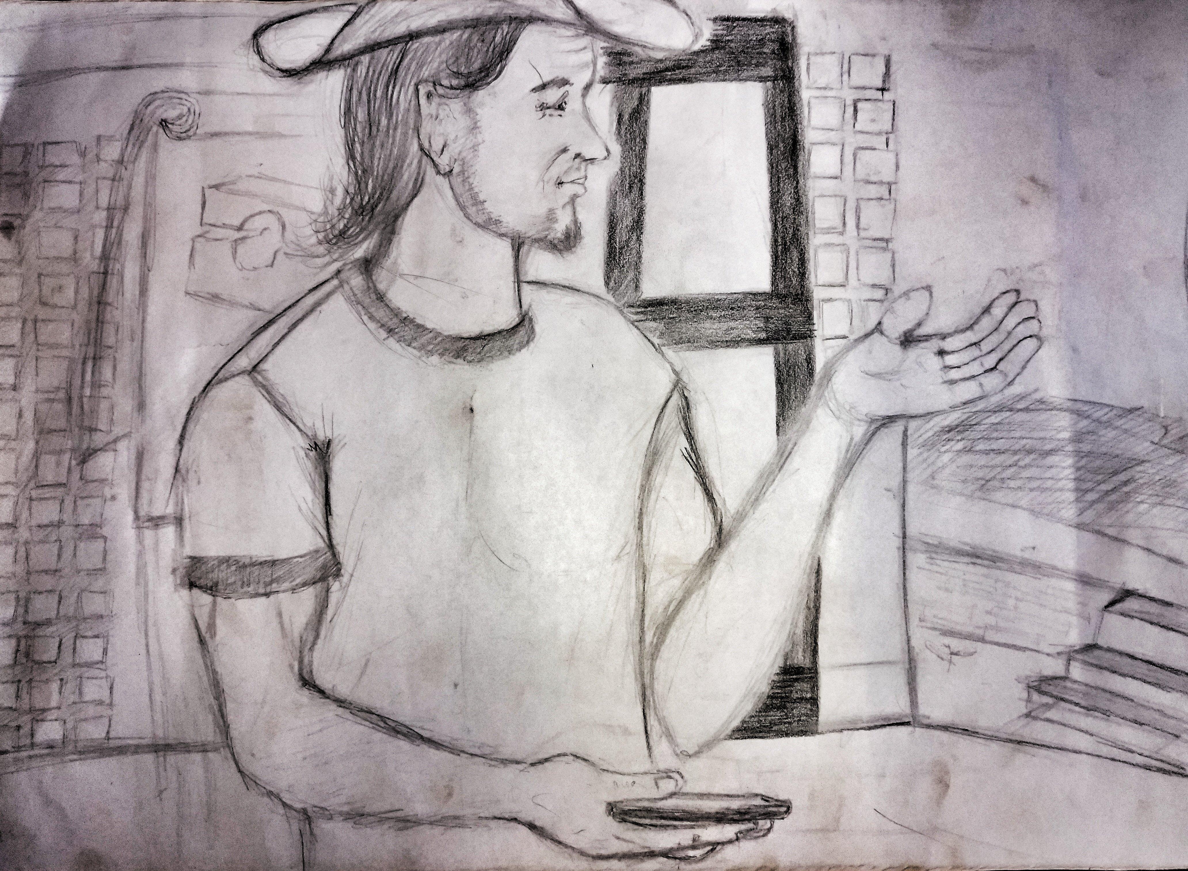 'Tim teaching Evangelism Explosion' by Joseph Ochira, one of my student workers