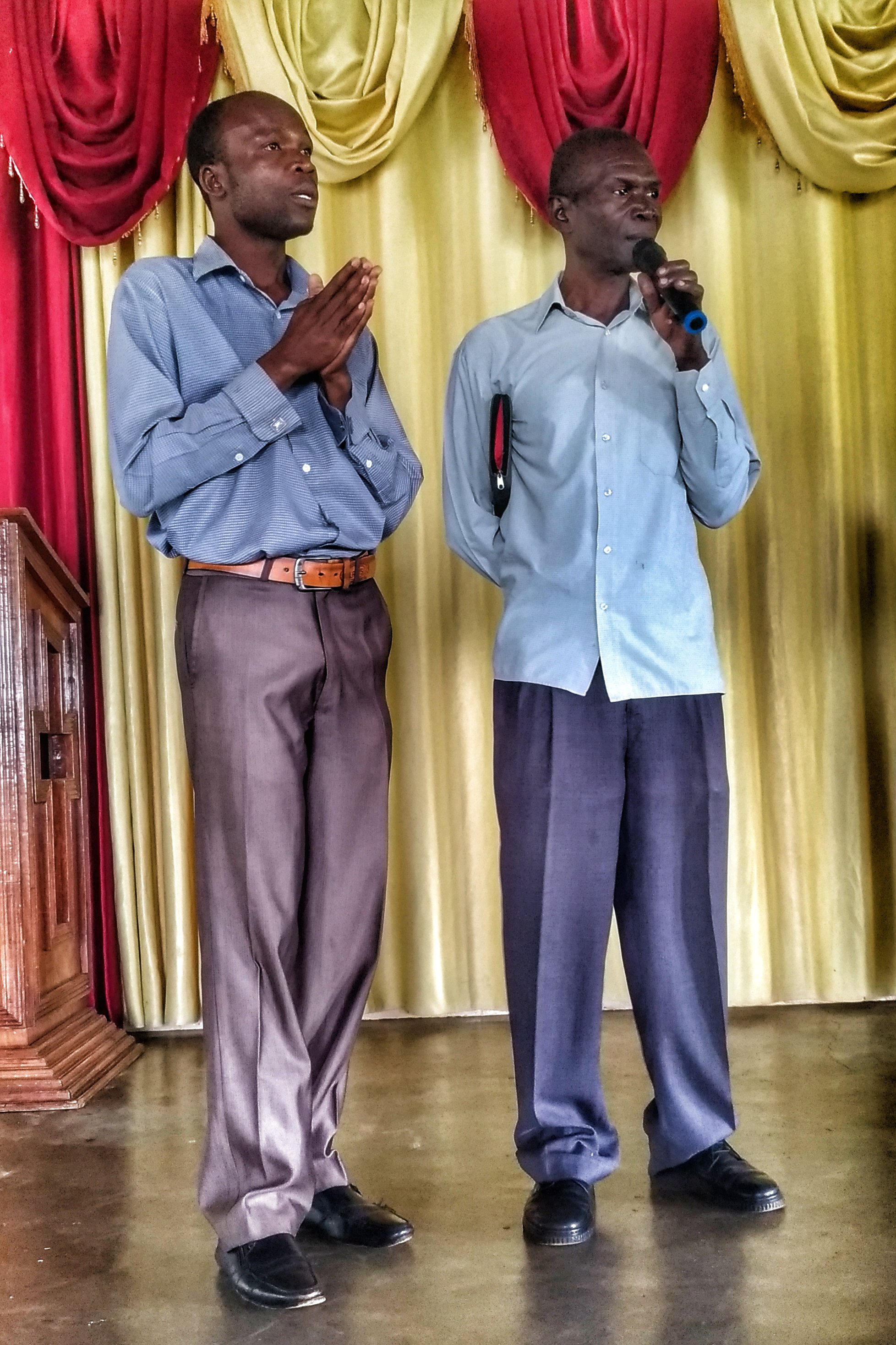 Edward (on the right) gives testimony and praise to God during staff prayer day (while Peter on the left translates), for his recovery from being beaten by the gang of thieves which attacked #GSFUganda in January. He had a broken jaw and could not speak or eat for a month. He had actually officially retired in December but continued on for a few weeks while GSF recruited new guards.