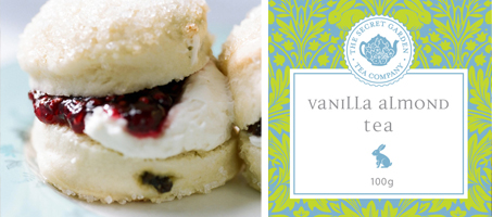 Vanilla Almond Black Tea and freshly baked scones - the perfect pairing! Buy tea online from The Secret Garden Tea Company in Vancouver