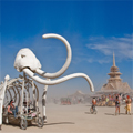 Burning Man Temple and Mammoth Art Car. Photo Credit: Tim Varga
