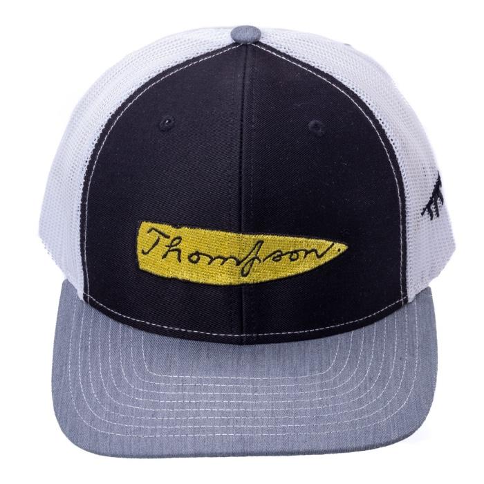 Thompson Mesh Back Black Cap/Grey Brim with Logo