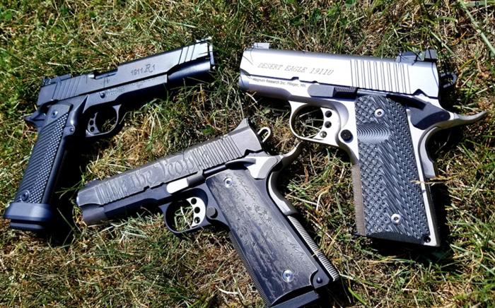 Comparing six types of 1911 handguns