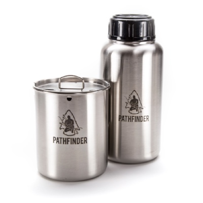 Stainless Steel Water Bottle and Nesting Cup Set