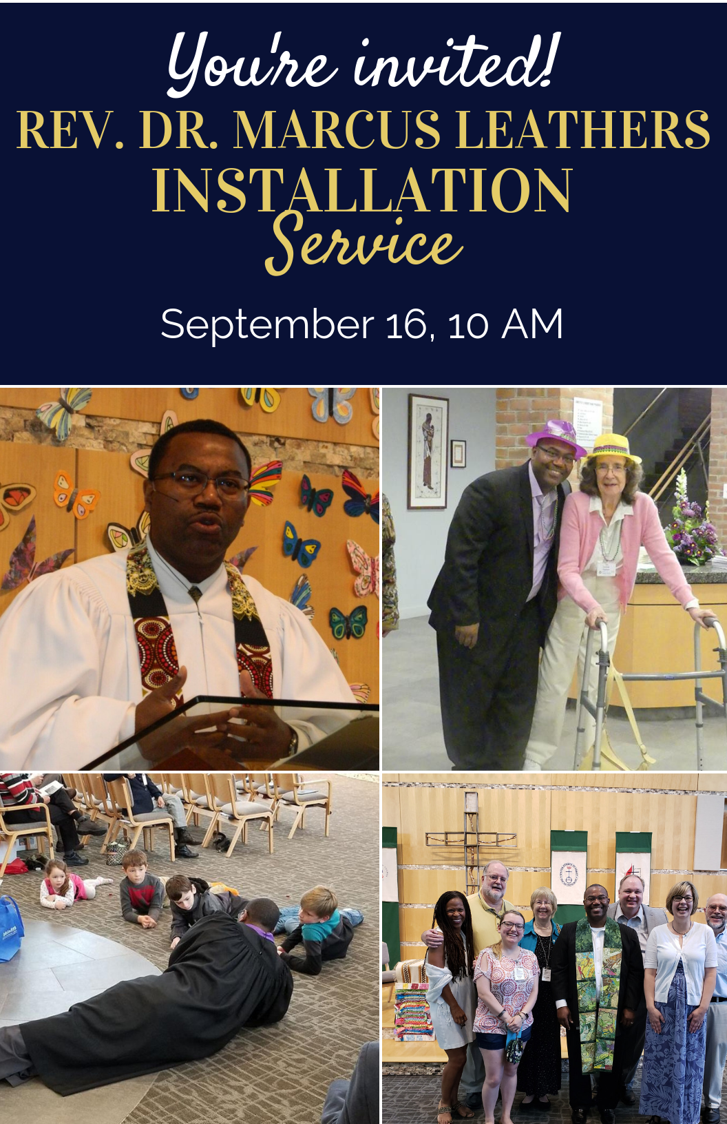 You're invited to the Installation Service for Marcus Leather, Sept. 16, 10am