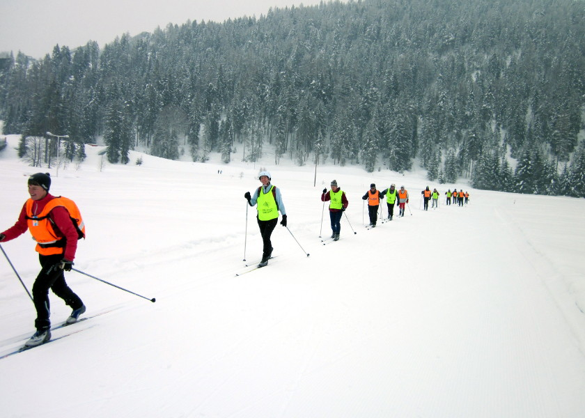 Image: visually impaired cross country skiers