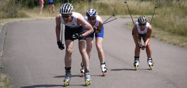 Roller skiers in LRNSC's 1 hour race