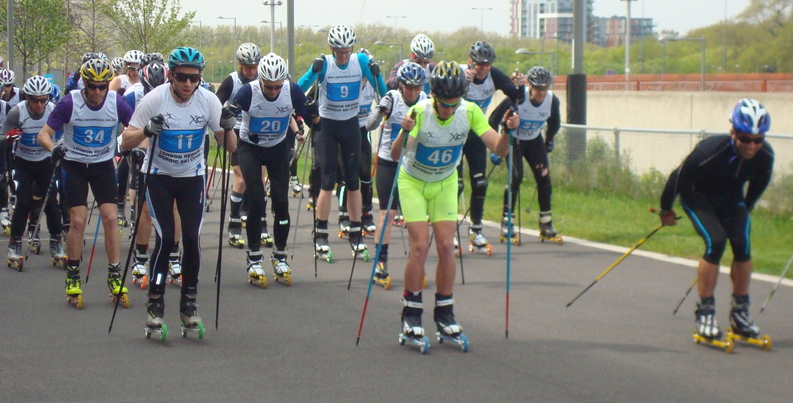 Start of LRNSC's roller ski race at the Olympic Park