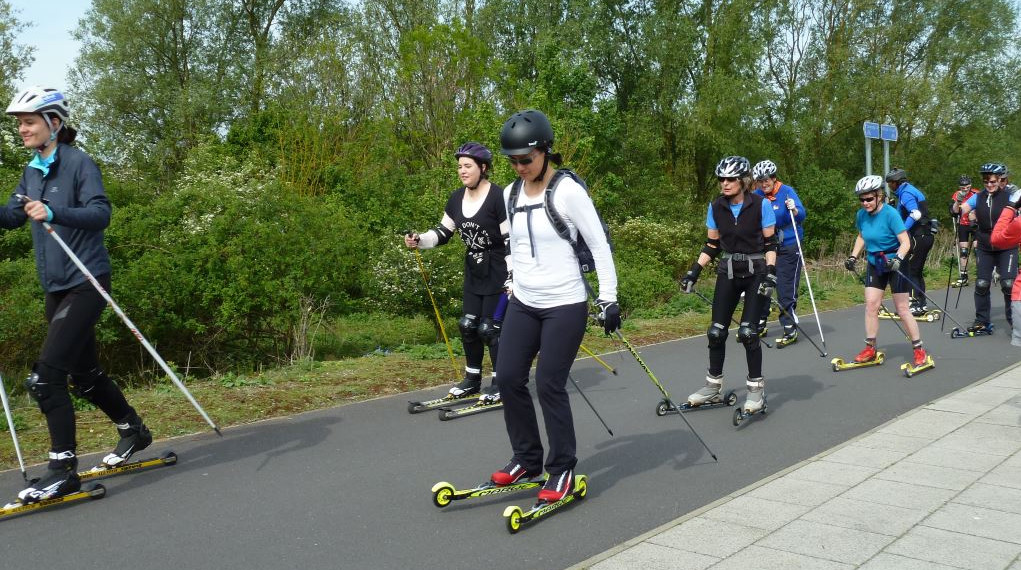 Cambridge Busway roller skiers