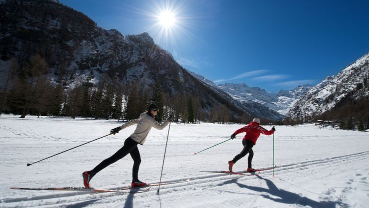 XC skiing in Cogne, Italy