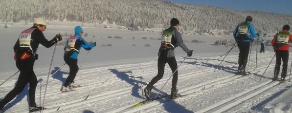 Skiers in the Birkebeiner race