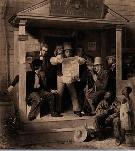 Image: Courtesy of the Wellcome Library, London: 'An American man reads from a newspaper with amazement the latest news on the Mexican war, surrounded by an attentive group of men' (1899) By Richard Caton Woodville after Alfred Jones.