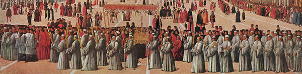 Gentile Bellini, 1496, Procession in St. Mark's Square Tempera on canvas. Courtesy of Wikimedia Commons