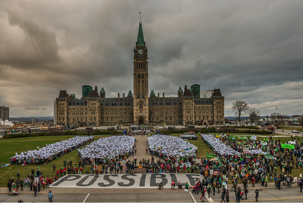 Parliament Hill with crowds of protesters in front