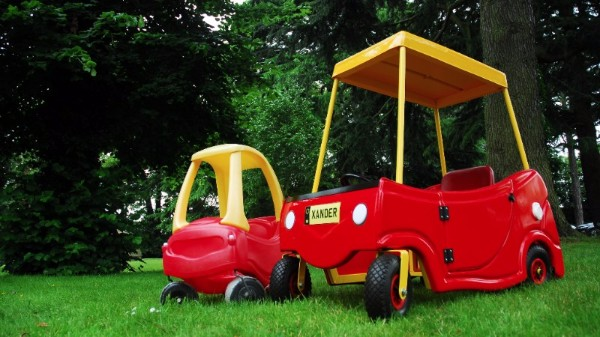 Xander's super-size car compared to the standard childrens version