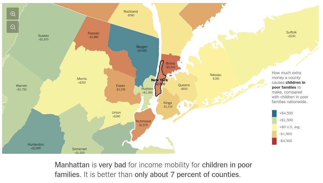 Karta och ingress från New York Times jobb om fattiga barns chans till ekonomisk klassresa
