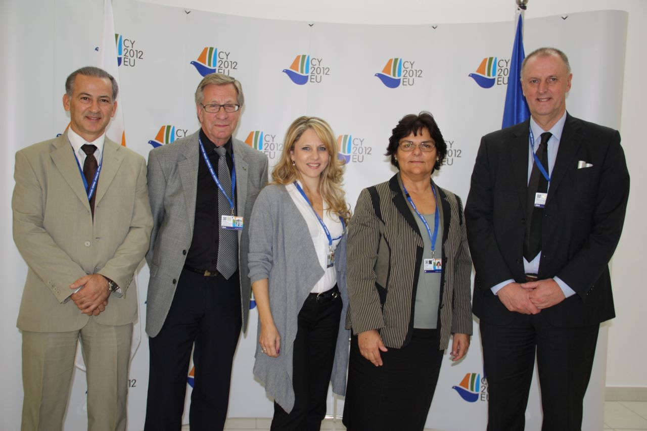 photo of Andreas Theodorou, Per Ch Gunnvall, Kalomira Ioannou, Olympia Stylianou, and Cor J.W. Meijer at the VET conference