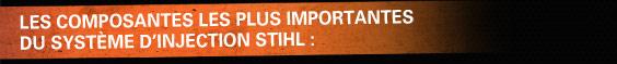 LES COMPOSANTES LES PLUS IMPORTANTES<br /> DU SYSTÈME D'INJECTION STIHL :