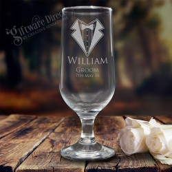 Engraved 345ml Wedding Beer Goblet Footed Glass