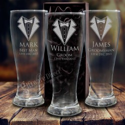 Engraved 420ml Wedding Schooner Glass