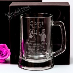 Engraved 500ml Beer Mug Wedding Glass