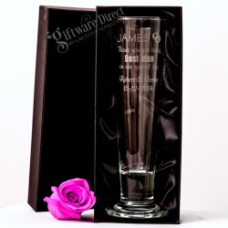 Tall 420ml Pilsner Footed Beer Glass Engraved