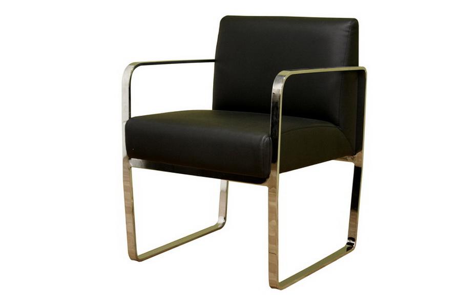 Baxton Studio Meg Black Leather With Silver Metal Legs Arm Chair