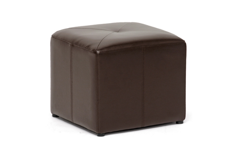 Baxton Studio Bonded Leather Cube Shape Ottoman Warehouse Sale