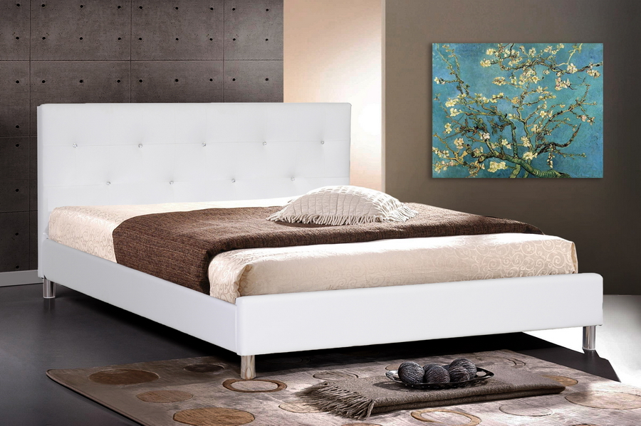 Baxton Studio Barbara White Modern Bed with Crystal Button Tufting - Full Size