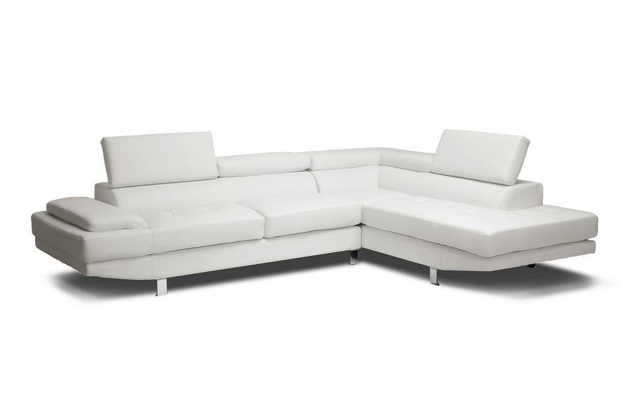 Baxton Studio Selma White Leather Modern Sectional Sofa ORG $792 SALE PRICE $713